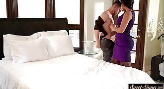 Busty stepmom sucks dick and gets fucked