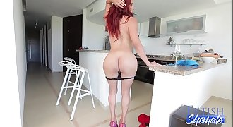 Redhead Shemale Stroking her Big Dick