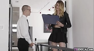 Silent shemale with a hard dick ass fucking fucks her coworker