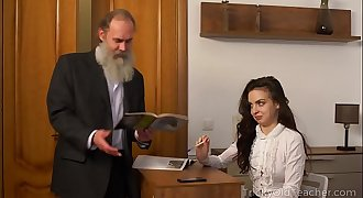 Tricky Old Teacher - Old teacher with her beautiful natural boobs Milana Witchs
