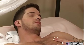 Shemale anal fucked by a massage clients hard cock